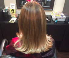 Long hair color and cut