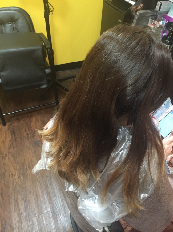 Before OMBRE Hairs with BALAYAGE Highlights