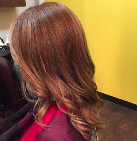 Hair color with sun kisses ombré
